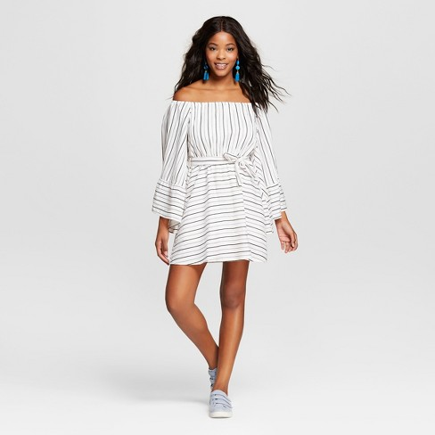 Women's Statement Sleeve Striped Dress - Love @ First Sight (Juniors') Black/White - image 1 of 2