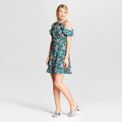 Women's Cold Shoulder Ruffle Dress - Xhilaration™ Jade