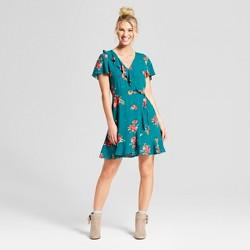 Women's Floral Print Short Sleeve Wrap Ruffle Dress - Xhilaration™ Jade