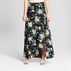 Women's Floral Print Wrap Tie Maxi Skirt - Xhilaration™ Black