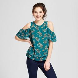 Women's Floral Print Cold Shoulder Ruffle Hem Short Sleeve Top - Xhilaration™ Jade