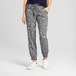 Women's Printed Tassel Tie Jogger Pants - Knox Rose™ Deep Charcoal