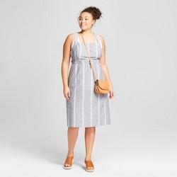 Women's Plus Size Striped Apron Dress - Universal Thread™ Gray