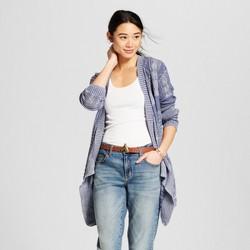 Women's Long Sleeve Cable Stitch Drape Front Cardigan - Knox Rose™ Slate Blue