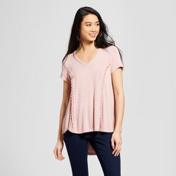Women's Short Sleeve Lace Back Knit Top - Knox Rose™ Dusty Rose