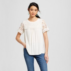 Women's Short Sleeve Lace Sleeve Top - Knox Rose™ Ivory