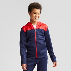 Umbro Boys' Printed Tech Fleece Full Zip Hoodie - Navy