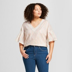 Women's Plus Size Striped Ruffle Sleeve Shine Blouse - A New Day™ Cream