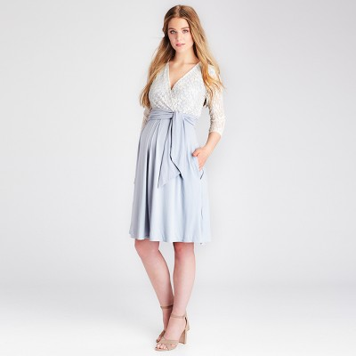 Maternity Lace V-Neck Nursing Dress - Expected by Lilac - Ivory/Silver M