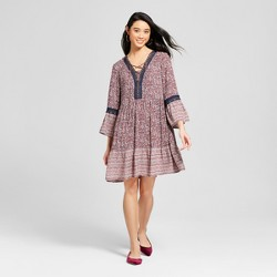 Women's 3/4 Sleeve Lace Up Border Print Dress - Knox Rose™ Navy
