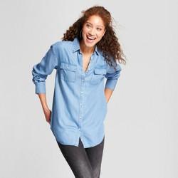 Women's Any Day Long Sleeve Tencel Tunic - A New Day™ Indigo