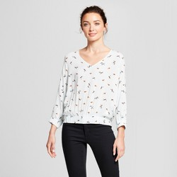 Women's Printed Long Sleeve Pullover Blouse - A New Day™ Blue