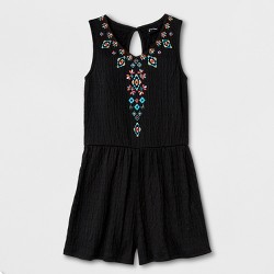 Girls' Embroidered Gauze Rompers - art class™ Black