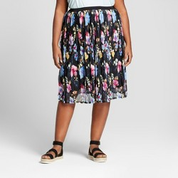 Women's Plus Size Textured Mesh Midi Skirt - Ava & Viv™ Black