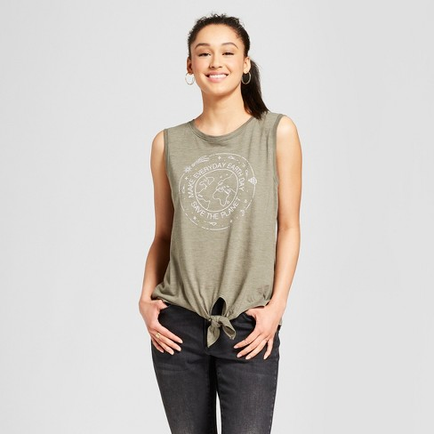 Women's Every Earth Tie Front Graphic Tank Top - Modern Lux (Juniors') Green - image 1 of 2