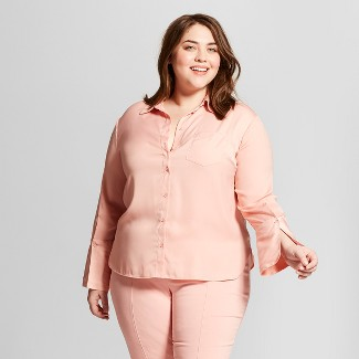 Women's Plus Size Long Sleeve High Cuff Blouse - Who What Wear™ Pink