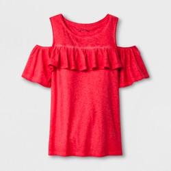 Girls' Cold Shoulder Knit Short Sleeve T-Shirt - art class™ Red