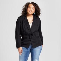 Women's Plus Size Tie Waist Jacket - A New Day™ Black
