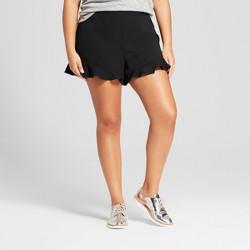 Women's Plus Size Crepe Ruffle Shorts - A New Day™ Black
