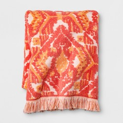 Ikat Fringed Towel Coral Orange - Opalhouse™