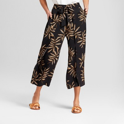 Women's Printed Cropped Wrap Pants - A New Day™ Black XL