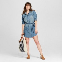 Women's Denim Shirt Dress - Universal Thread™ Medium Wash