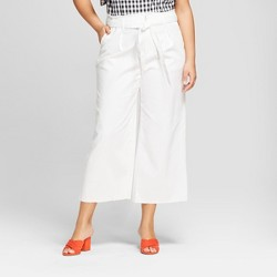 Women's Plus Size Twill Paperbag Waist Pants - A New Day™ White