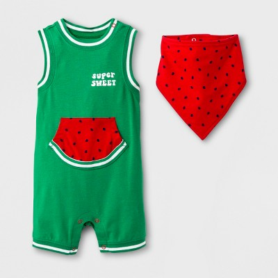 Baby Boys' Tank Top Romper Shorts with Kangaroo Pocket and Bib Set - Cat & Jack™ Green/Red Baby