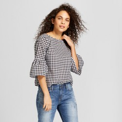 Women's Gingham Button Back Top 3/4 Sleeve Blouse - Universal Thread™ Black