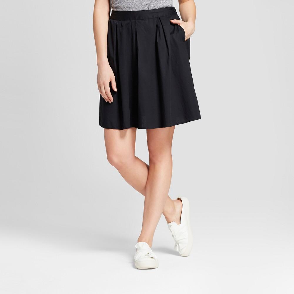 Women's Poplin A Line Skirt - A New Day Black Xxs
