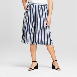 Women's Plus Size Striped Pants Set - Xhilaration™ Blue/White