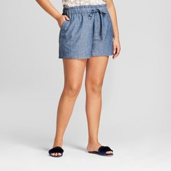Women's Plus Size Paperbag Waist Shorts - A New Day™