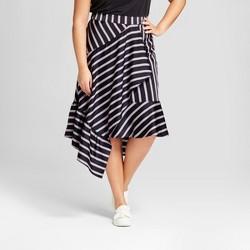 Women's Plus Size Striped Asymmetrical Skirt - A New Day™ Black
