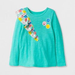Toddler Girls' Long Sleeve Ruffle T-Shirt - Cat & Jack™ Green