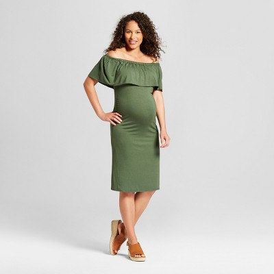 Maternity Off the Shoulder Fitted Midi Dress - MaCherie Capulet Olive S