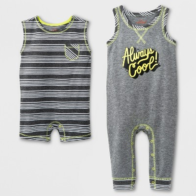 Baby Boys' 2pk Sleeveless Romper Set - Cat & Jack™ Gray/Black 3-6M