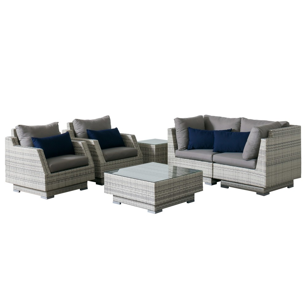 Azure 6pc Wicker Loveseat And Chair Patio Set With Sunbrella Fabric Gray Corliving