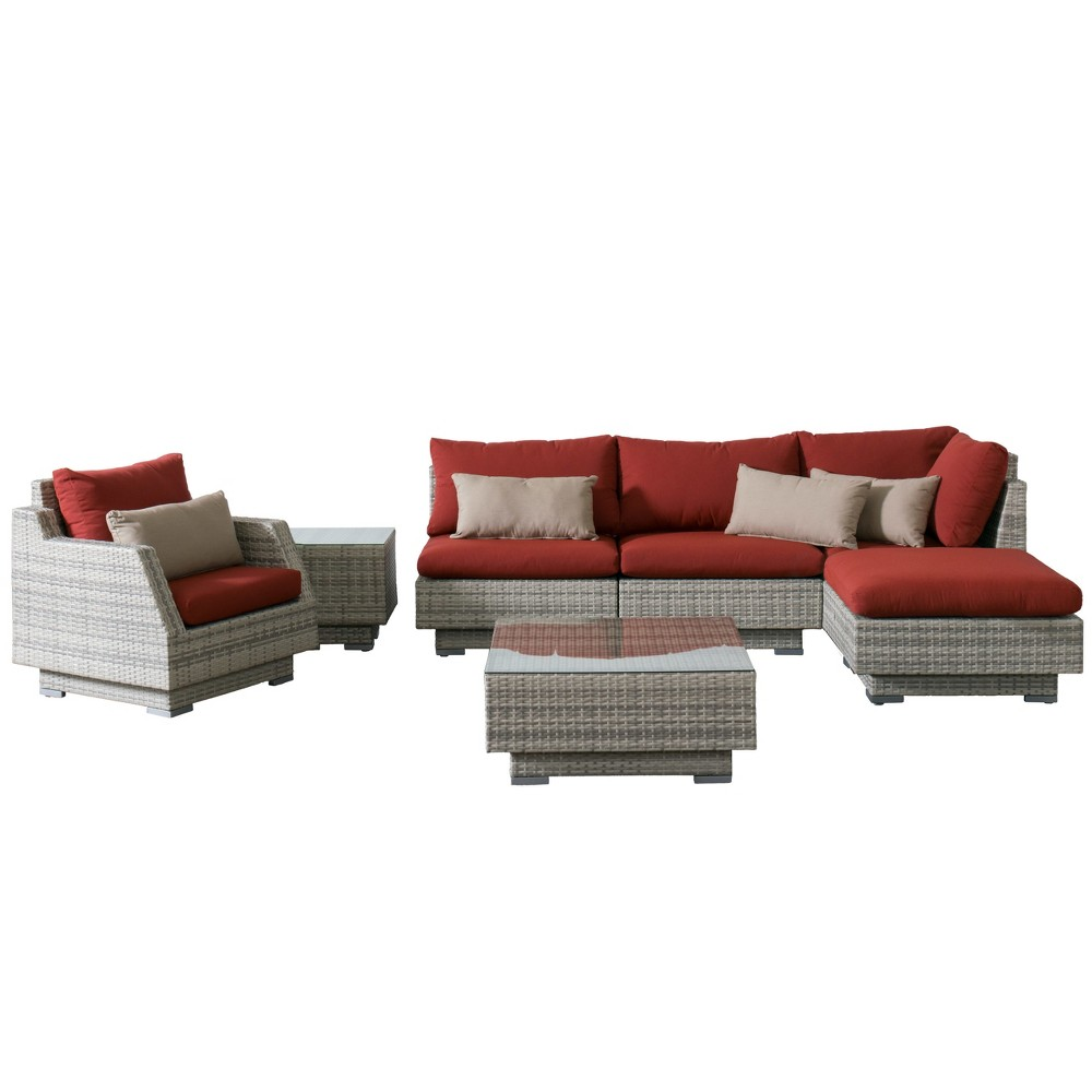 Azure 7pc Wicker Corner Sectional And Chair Patio Set With Sunbrella Fabric Red Corliving