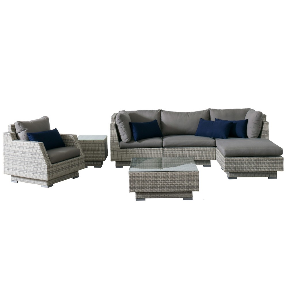 Azure 7pc Wicker Sofa Sectional And Chair Patio Set With Sunbrella Fabric Gray Corliving