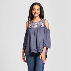 Women's 3/4 Sleeve Lace Trim Embroidered Cold Shoulder Top - Knox Rose™ Slate Blue