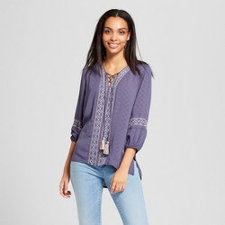 Women's Long Sleeve Embroidered Lace Up Textured Top - Knox Rose™ Slate Blue