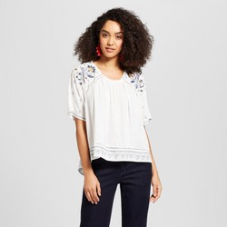 Women's Short Sleeve Embroidered Trim Textured Top - Knox Rose™ White