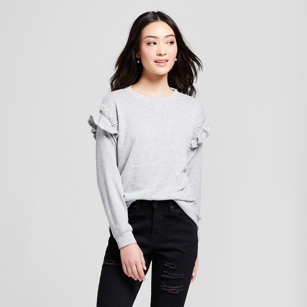 Women's Pearl Ruffle Sleeve Sweatshirt - Lily Star (Juniors') Gray L