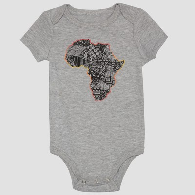 Well Worn Infant Africa Quilt Bodysuit - Grey Heather 3M