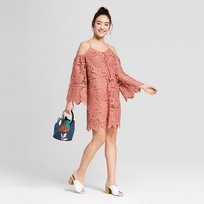Women's Long Sleeve Cold Shoulder Lace Shift Sundress- Xhilaration™ Mauve L
