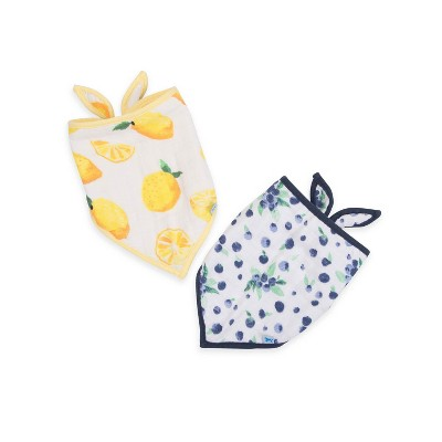 Little Unicorn Berry Lemon Bandana Bib - Yellow/Blue