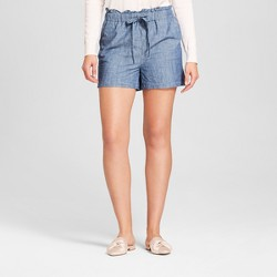 Women's Paperbag Waist Shorts - A New Day™ Chambray