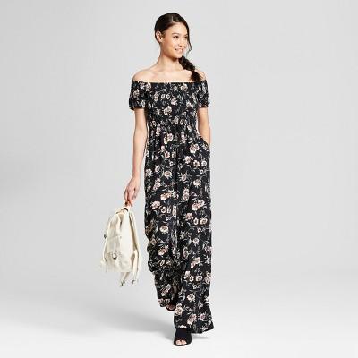 Women's Floral Print Short Sleeve Smocked Off the Shoulder Jumpsuit - Xhilaration™ Black L