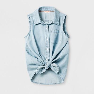 Girls' Sleeveless Tie Front Denim Button Down Shirt   Cat & Jack™ Light Blue by Cat & Jack™