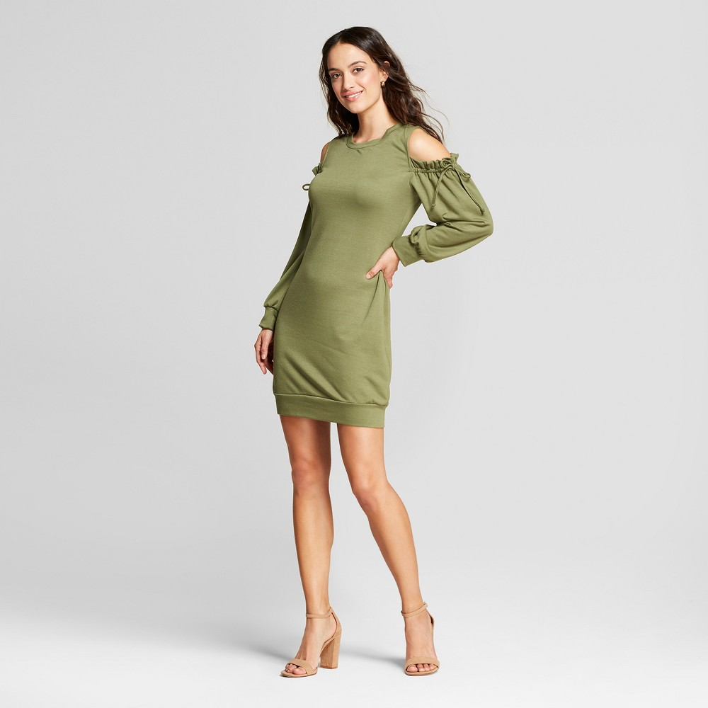 Women's Ruched Cold Shoulder Sweatershirt Dress Como Black Green L